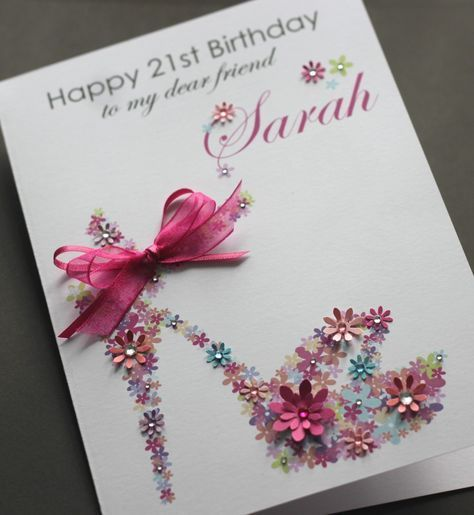 Description LARGE A5 Handmade Personalised FLORAL SHOE Birthday Card Sister