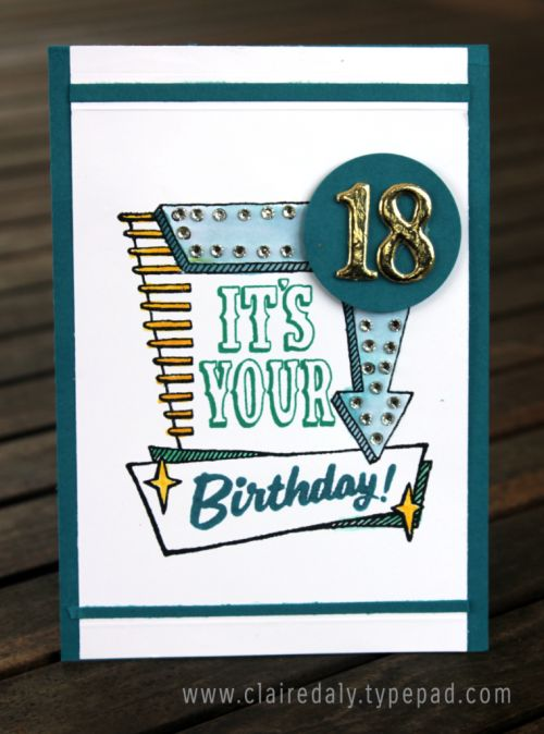 Description Stampin Up Marquee Messages 2016 Masculine Birthday Card For An 18th