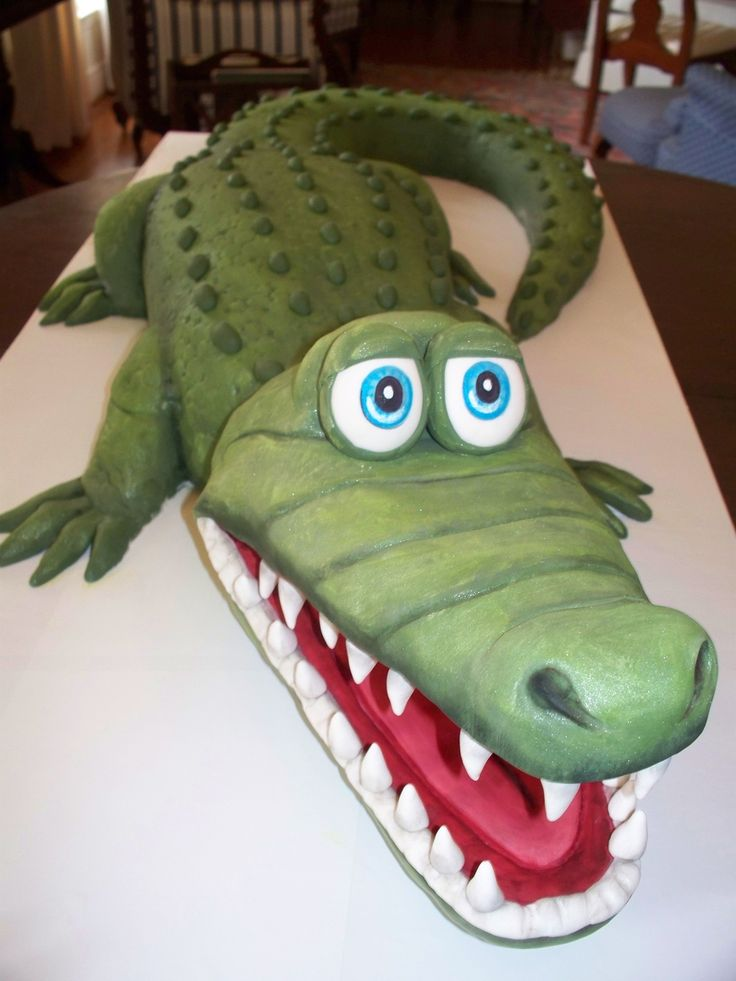 Astonishing Birthday Cakes Big Gator Alligator Birthday Cake Almond Pound Funny Birthday Cards Online Alyptdamsfinfo