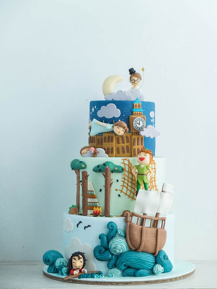 Enjoyable Birthday Cakes Cake Set Peter Pan From London To Never Never Personalised Birthday Cards Beptaeletsinfo