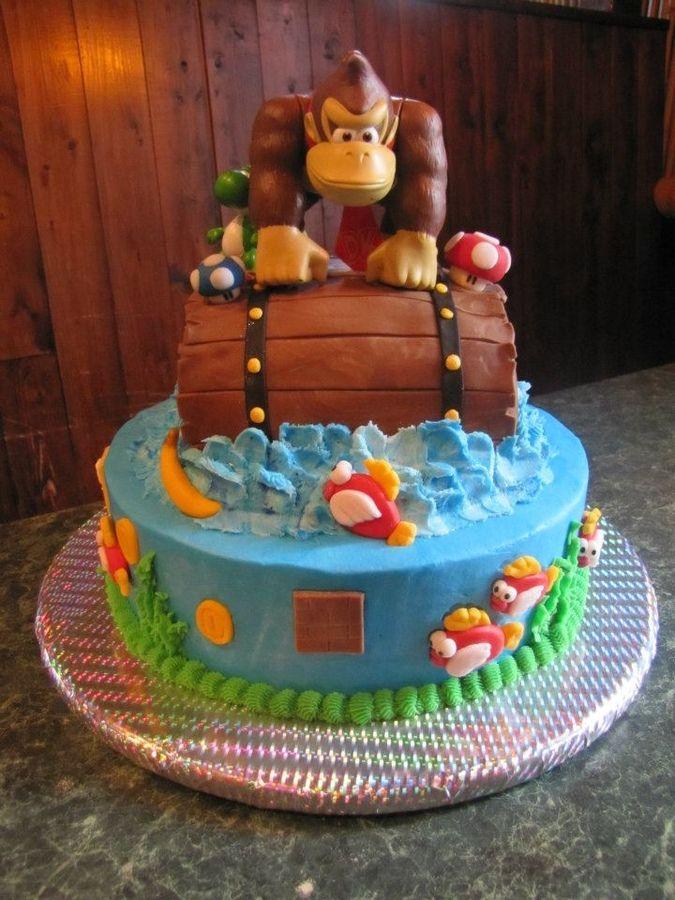 Enjoyable Birthday Cakes Donkey Kong And Super Mario My Son Loves Cakepins Funny Birthday Cards Online Amentibdeldamsfinfo