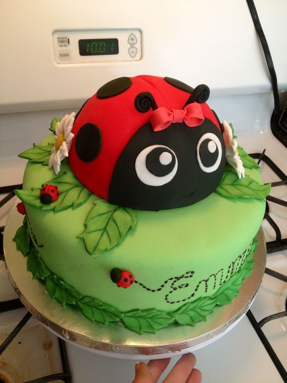 Awesome Birthday Cakes Lady Bug Garden Cupcakes Yesbirthday Home Of Funny Birthday Cards Online Alyptdamsfinfo