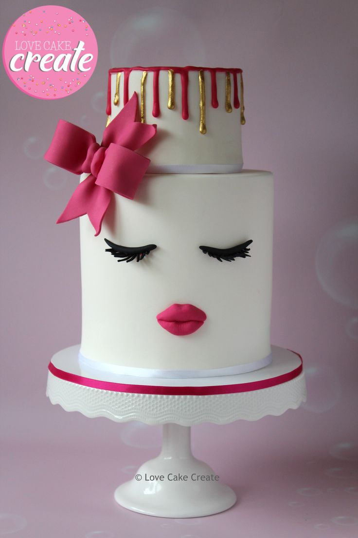 Cool Birthday Cakes Lips And Lashes Cake With A Pink Bow And Pink And Personalised Birthday Cards Epsylily Jamesorg