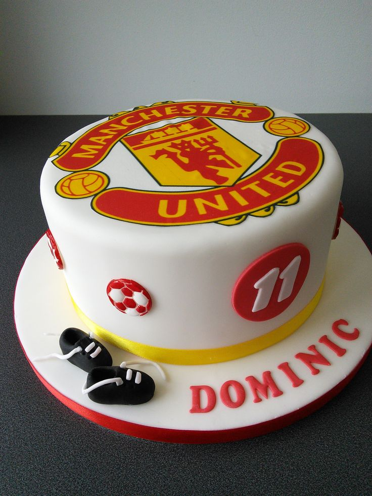 Remarkable Birthday Cakes Manchester United Football Club And Football Birthday Cards Printable Nowaargucafe Filternl