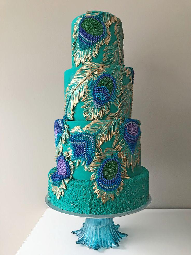 Tremendous Birthday Cakes Peacock Themed Wedding Cake On Satinice Com Personalised Birthday Cards Veneteletsinfo