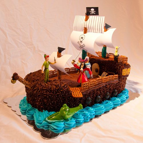 Groovy Birthday Cakes Peter Pan Hook On Pirate Ship And Tick Tock Personalised Birthday Cards Beptaeletsinfo
