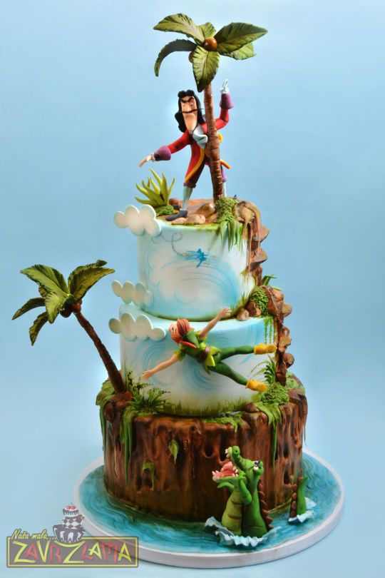 Prime Birthday Cakes Peter Pan And Captain Hook Cake Yesbirthday Personalised Birthday Cards Arneslily Jamesorg