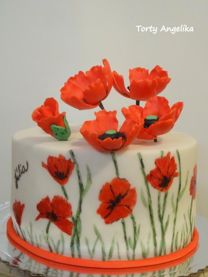 Enjoyable Birthday Cakes Poppy Flower Cake By Angiek Yesbirthday Home Funny Birthday Cards Online Alyptdamsfinfo