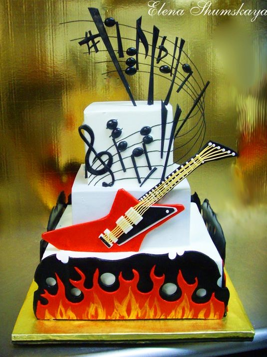 Enjoyable Birthday Cakes Rock N Roll Cake Yesbirthday Home Of Birthday Birthday Cards Printable Opercafe Filternl