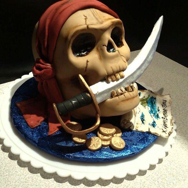 Remarkable Birthday Cakes Skull Pirate Cake Yesbirthday Home Of Funny Birthday Cards Online Barepcheapnameinfo