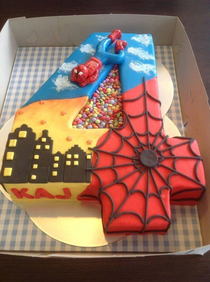 Groovy Birthday Cakes Spiderman 4 Years Old Cake Yesbirthday Home Personalised Birthday Cards Veneteletsinfo