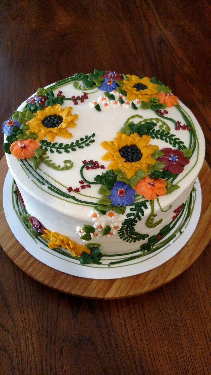 Awe Inspiring Birthday Cakes Sunflower And Fall Floral Buttercream Bridal Funny Birthday Cards Online Necthendildamsfinfo