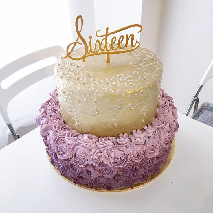 Stupendous Birthday Cakes Sweet Sixteen Rosette Birthday Cake In Shades Of Personalised Birthday Cards Veneteletsinfo
