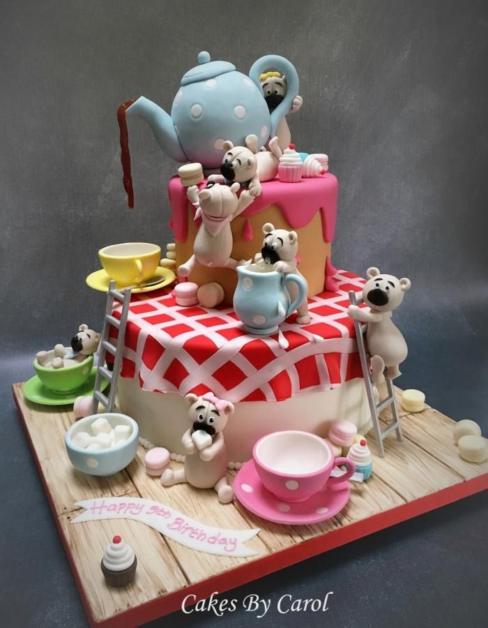 Magnificent Birthday Cakes Teapot Teddies Silver Award By Carol Funny Birthday Cards Online Benoljebrpdamsfinfo