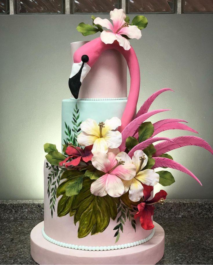Stupendous Birthday Cakes Tiered Flamingo Cake Hawaiian Cake Funny Birthday Cards Online Alyptdamsfinfo