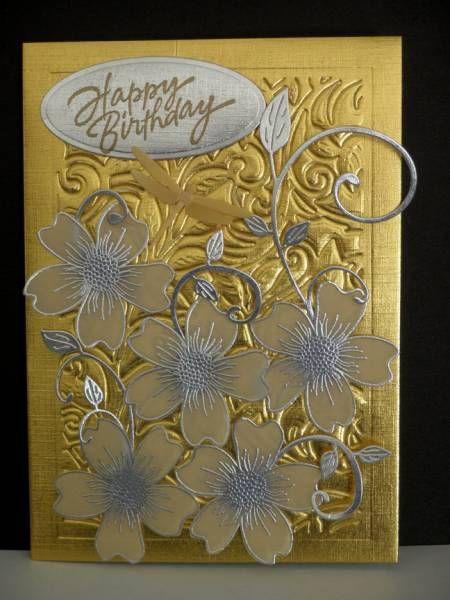 Birthday Card Ideas Cc407 Silver Gold And White Birthday