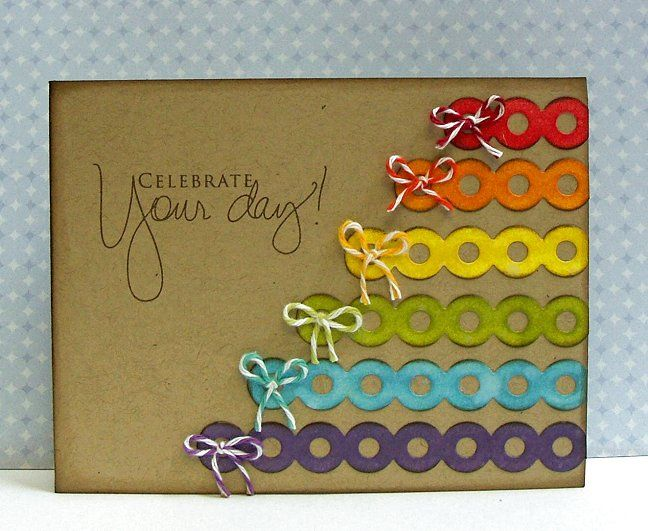 Description Rainbow Idea With Die Cut Strips TAGS Birthday Card Images