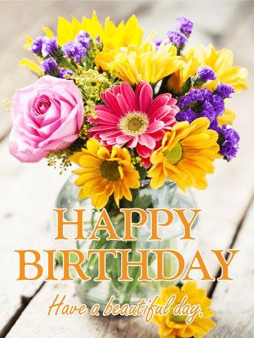 birthday quotes fresh flower bouquet happy birthday card