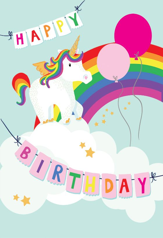 Description Merry Unicorn Birthday Card You Can Print