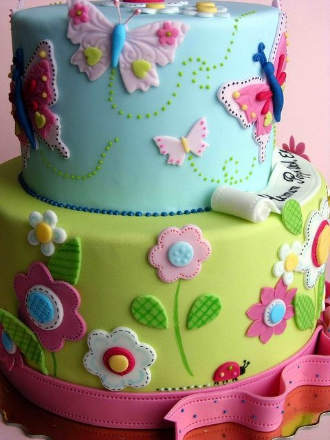 Miraculous Birthday Cakes Flowers And Butterflies Cake Yesbirthday Home Funny Birthday Cards Online Alyptdamsfinfo