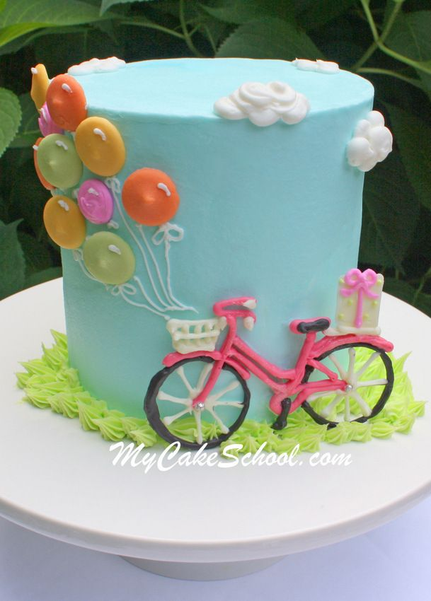 Remarkable Birthday Cakes Cute And Easy Free Bicycle And Balloons Cake Personalised Birthday Cards Veneteletsinfo