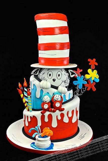 Tremendous Birthday Cakes Cat In The Hat Cake Dr Seuss Cake Funny Birthday Cards Online Hetedamsfinfo