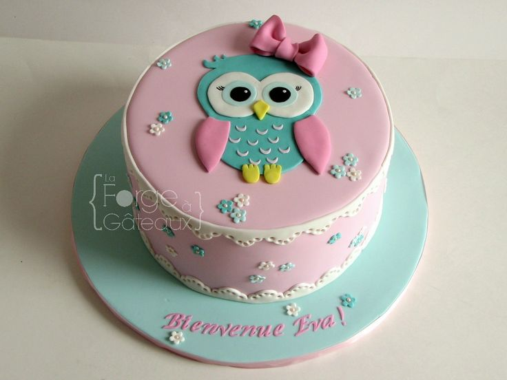 Awesome Birthday Cakes Cute Owl Cake For Baby Girl Baptism Or Baby Show Funny Birthday Cards Online Necthendildamsfinfo