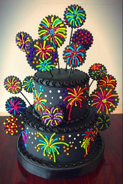 Super Birthday Cakes Fireworks Cake Adrienne Co Bakery Funny Birthday Cards Online Fluifree Goldxyz