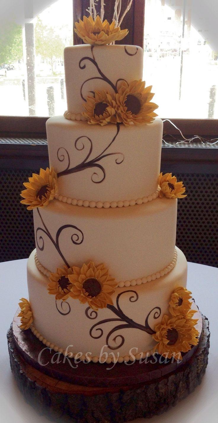 Cool Birthday Cakes Hand Painted Sunflower Wedding Cake On Cake Funny Birthday Cards Online Necthendildamsfinfo