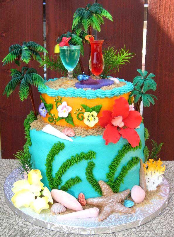 Fantastic Birthday Cakes Hawaiian Luau Hawaii Decorated Cake Funny Birthday Cards Online Alyptdamsfinfo