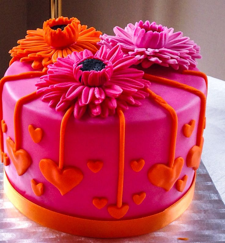 Peachy Birthday Cakes Hot Pink And Orange Gerbera Cake Topper Funny Birthday Cards Online Overcheapnameinfo
