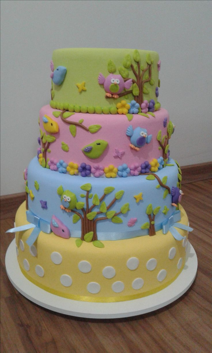 Groovy Birthday Cakes Juliana Bolos Fake Bolo Jardim Encantado Personalised Birthday Cards Fashionlily Jamesorg