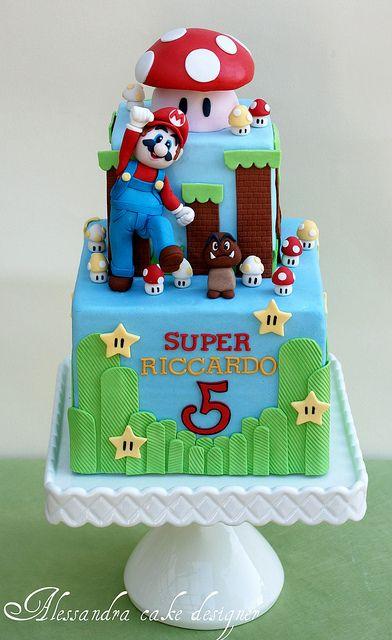 Tremendous Birthday Cakes Mario Bross Cake By Alessandra Cake Designer Via Funny Birthday Cards Online Elaedamsfinfo