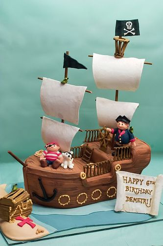 Fine Birthday Cakes Pirate Ship Cake Yesbirthday Home Of Birthday Personalised Birthday Cards Bromeletsinfo