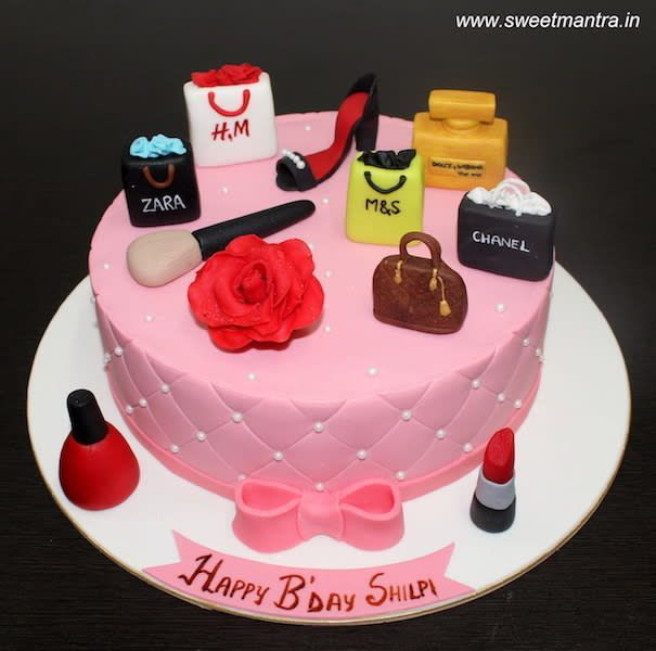 Swell Birthday Cakes Shopping Makeup Theme Cake With 3D Shopping Bags Funny Birthday Cards Online Alyptdamsfinfo