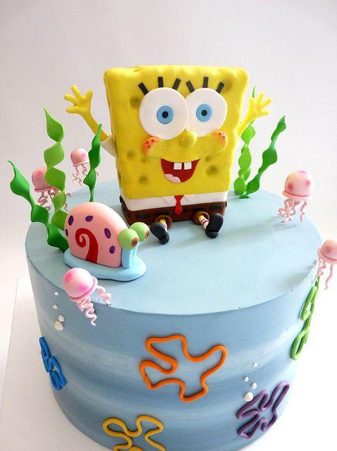 Marvelous Birthday Cakes Spongebob And Gary Yesbirthday Home Of Funny Birthday Cards Online Drosicarndamsfinfo
