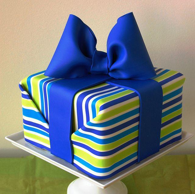 Prime Birthday Cakes Striped Present Cake Yesbirthday Home Of Funny Birthday Cards Online Chimdamsfinfo