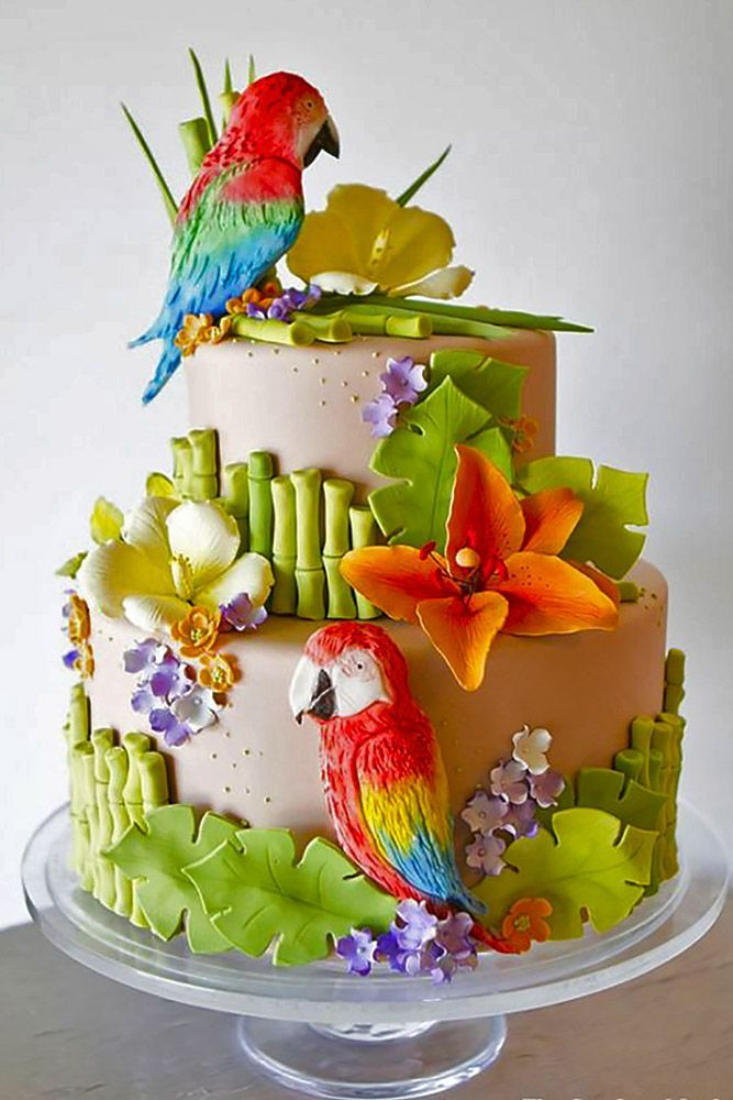 Super Birthday Cakes Tropical Wedding Cakes That Wow See More Birthday Cards Printable Trancafe Filternl