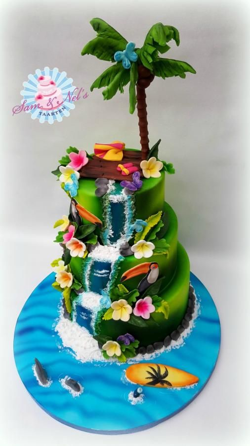 Sensational Birthday Cakes Tropical Cake By Sam Nels Taarten Funny Birthday Cards Online Overcheapnameinfo