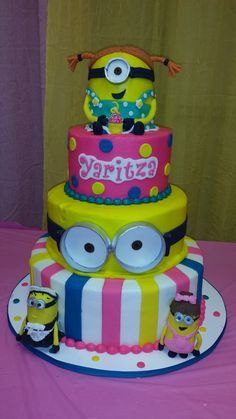 Excellent Birthday Cakes Pink Minions Birthday Party Ideas Yesbirthday Funny Birthday Cards Online Eattedamsfinfo