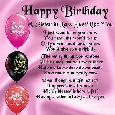 Birthday Quotes Personalised Coaster Sister In Law Poem Happy