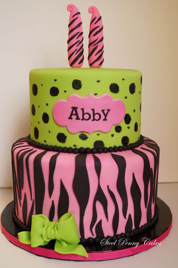 Peachy Birthday Cakes 11Th Birthday Cake Pink With Zebra Stripes And Personalised Birthday Cards Petedlily Jamesorg