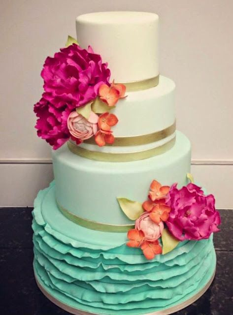 Admirable Birthday Cakes Beautiful Turquoise Ombre Wedding Cake With Hot Funny Birthday Cards Online Overcheapnameinfo