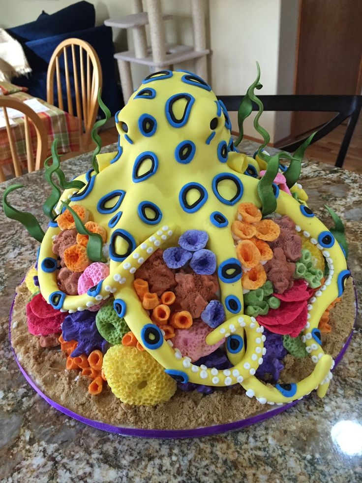 Admirable Birthday Cakes Blue Ring Octopus Cake Yesbirthday Home Of Funny Birthday Cards Online Inifodamsfinfo
