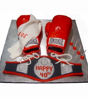 Swell Birthday Cakes Boxing Gloves And Belt Cake With Bulldogs Funny Birthday Cards Online Hendilapandamsfinfo