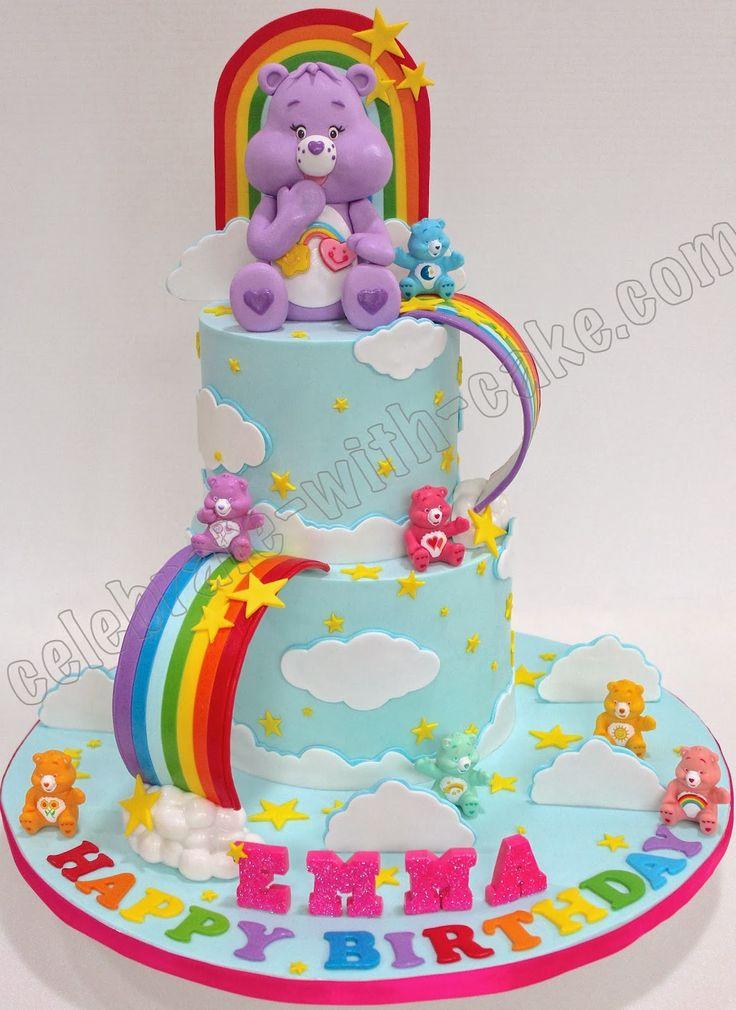 Cool Birthday Cakes Celebrate With Cake Care Bears And Rainbow Birthday Cards Printable Benkemecafe Filternl