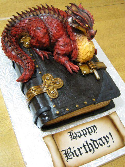 Strange Birthday Cakes Dragon On A Book Cake 3 0 Rkt Fondant Dragon Funny Birthday Cards Online Alyptdamsfinfo