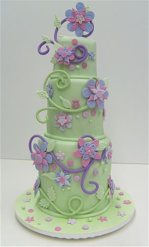 Admirable Birthday Cakes Flowers Swirls Colettes Cakes Beautiful Funny Birthday Cards Online Elaedamsfinfo