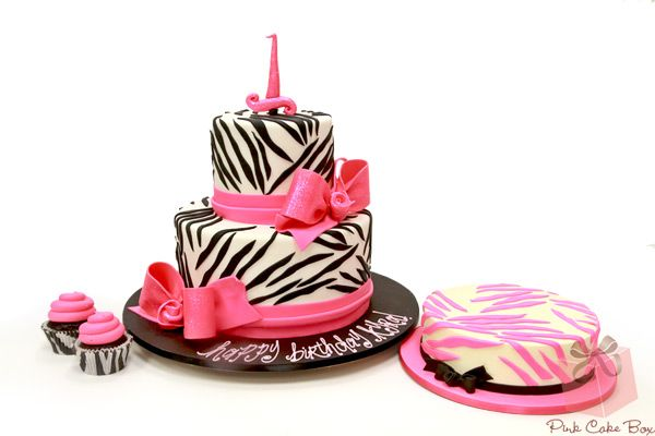 Swell Birthday Cakes Kyras First Birthday Zebra Print Cake Cupcakes Personalised Birthday Cards Veneteletsinfo