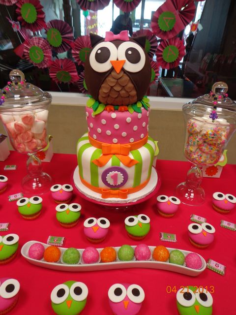 Swell Birthday Cakes Pink Green Owl Birthday Party Ideas Yesbirthday Funny Birthday Cards Online Alyptdamsfinfo
